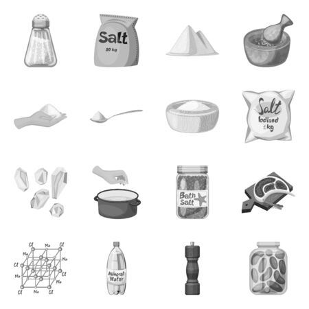 Isolated object of salt and food symbol. Collection of salt and mineral stock vector illustration.