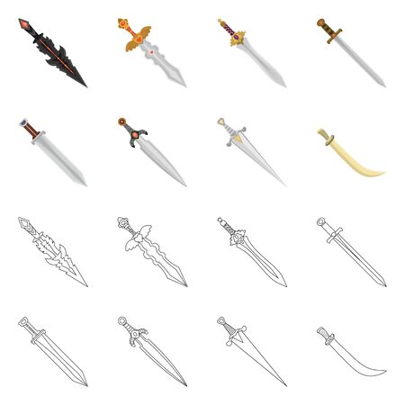 Vector design of game and armor icon. Collection of game and blade vector icon for stock. 向量圖像