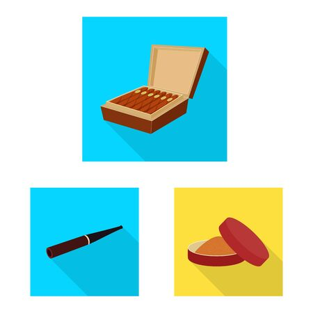 Vector illustration of smoke and statistics symbol. Set of smoke and stop stock symbol for web.