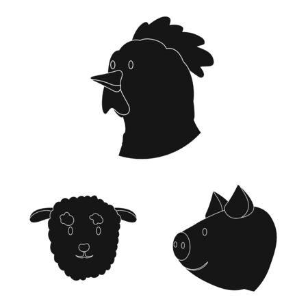 Vector design of ranch and organic symbol. Set of ranch and head vector icon for stock.