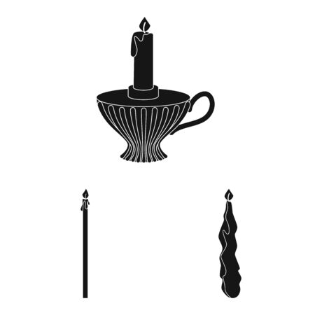 Vector illustration of candlelight and decoration symbol. Set of candlelight and wax vector icon for stock. Ilustracja