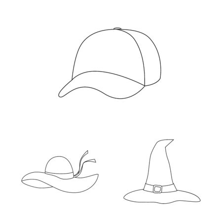 Vector illustration of headgear and napper sign. Collection of headgear and helmet stock vector illustration. Banque d'images - 129569808