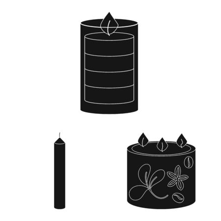 Vector illustration of candlelight and decoration sign. Collection of candlelight and wax stock vector illustration.