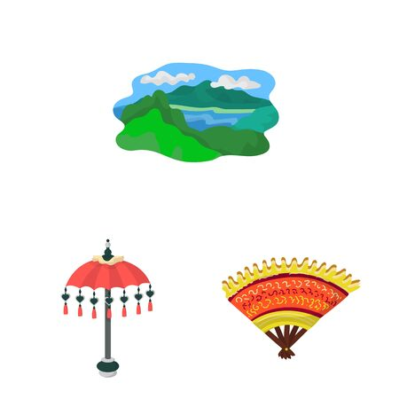 Isolated object of bali and indonesia symbol. Collection of bali and caribbean vector icon for stock. 矢量图像