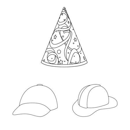 Vector illustration of headgear and napper sign. Collection of headgear and helmet stock vector illustration.