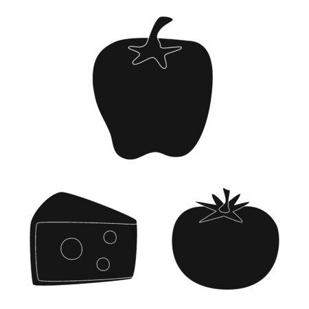 Vector illustration of organic and cooking sign. Set of organic and flavors vector icon for stock. Иллюстрация
