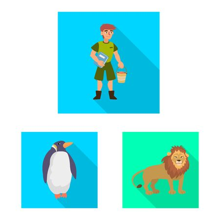 Vector illustration of safari and animal sign. Set of safari and fun stock symbol for web.