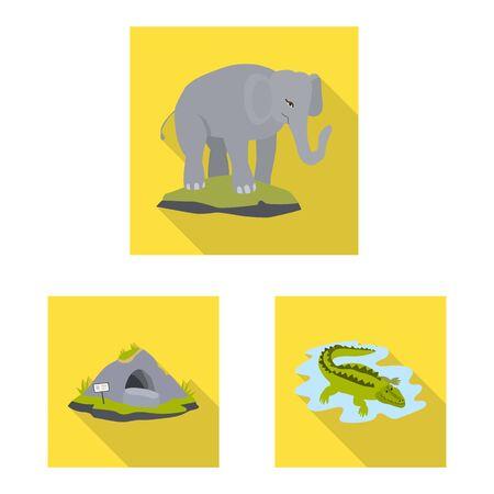 Vector design of safari and animal sign. Collection of safari and fun vector icon for stock.