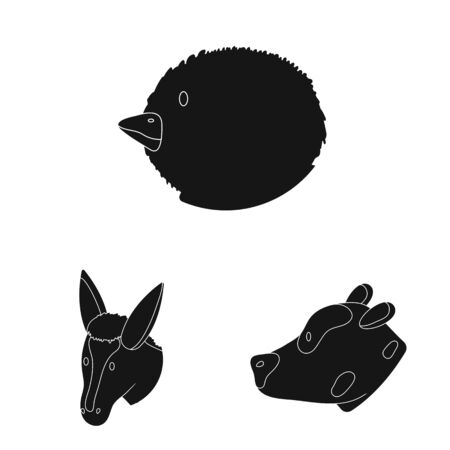 Vector design of ranch and organic icon. Collection of ranch and head vector icon for stock. Иллюстрация