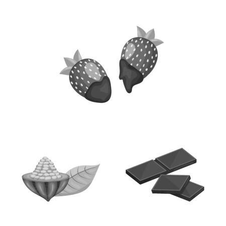 Vector illustration of dessert and sweetness sign. Set of dessert and product stock vector illustration.