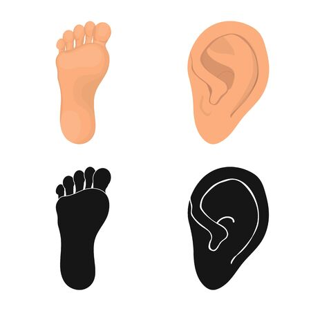 Isolated object of body and part icon. Set of body and anatomy stock symbol for web.