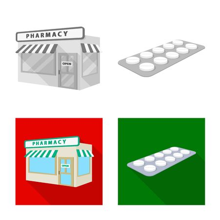 Vector design of retail and healthcare sign. Collection of retail and wellness vector icon for stock.