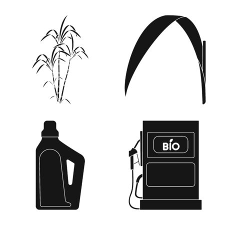 Isolated object of sucrose and technology icon. Collection of sucrose and cane stock vector illustration.
