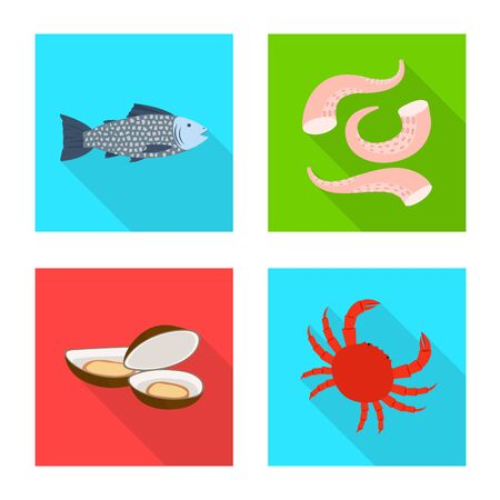 Vector illustration of product and ocean sign. Collection of product and restaurant stock vector illustration.