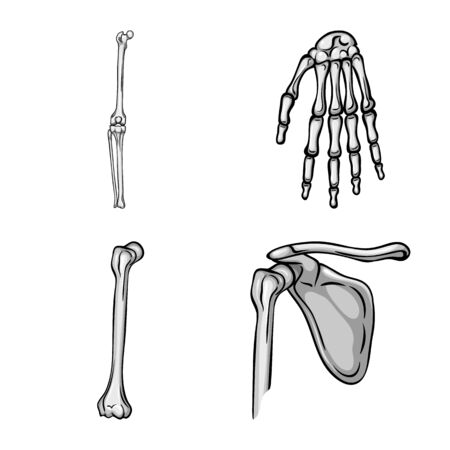 Isolated object of biology and medical logo. Collection of biology and skeleton vector icon for stock.