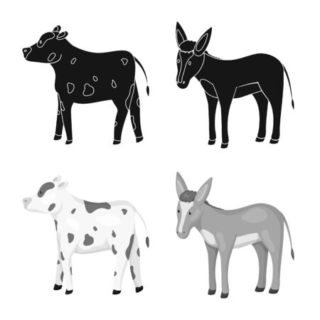 Vector illustration of breeding and kitchen symbol. Set of breeding and organic stock symbol for web. Ilustração