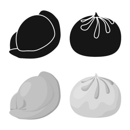 Vector illustration of products and cooking symbol. Collection of products and appetizer vector icon for stock.  イラスト・ベクター素材