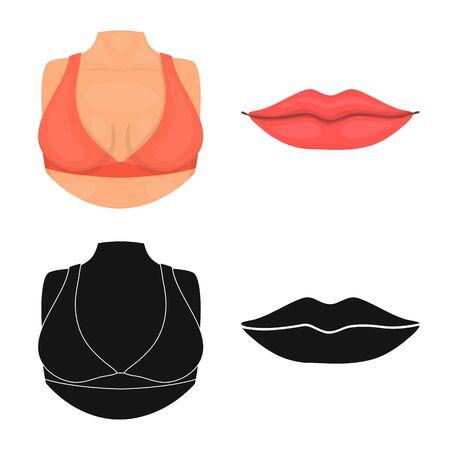 Vector illustration of body and part symbol. Collection of body and anatomy stock vector illustration. Illusztráció