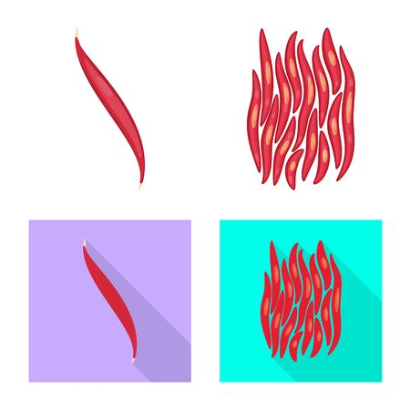 Isolated object of fiber and muscular symbol. Collection of fiber and body vector icon for stock. Stock Illustratie