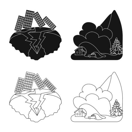 Isolated object of weather and distress sign. Collection of weather and crash vector icon for stock. Ilustração