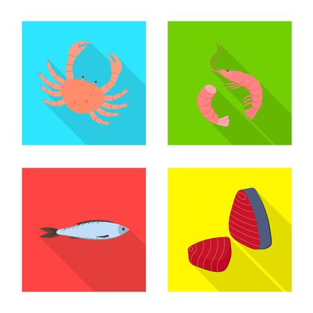 Vector design of product and ocean icon. Set of product and restaurant stock vector illustration.
