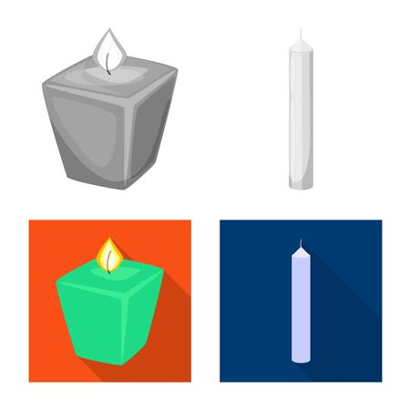 Isolated object of relaxation and flame sign. Collection of relaxation and wax stock symbol for web.