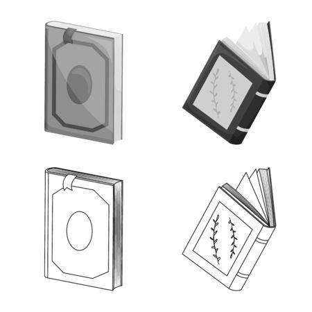 Vector illustration of training and cover sign. Set of training and bookstore stock vector illustration. Ilustração