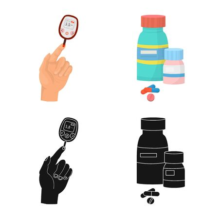 Isolated object of diet and treatment icon. Set of diet and medicine vector icon for stock.