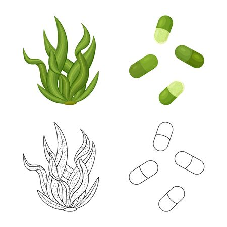 Isolated object of protein and sea. Collection of protein and natural stock vector illustration.