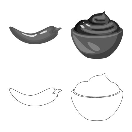 Vector design of taste and product icon. Collection of taste and cooking stock symbol for web. Ilustracja