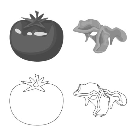 Vector design of taste and product icon. Set of taste and cooking vector icon for stock. Ilustracja