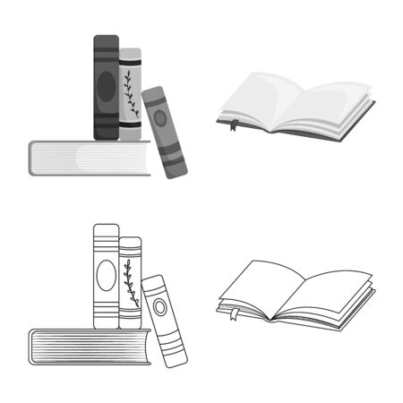 Vector illustration of training and cover icon. Set of training and bookstore vector icon for stock. Иллюстрация