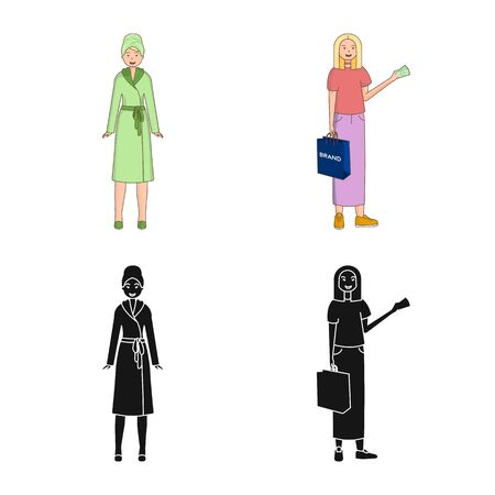 Isolated object of posture and mood icon. Set of posture and female vector icon for stock. Çizim