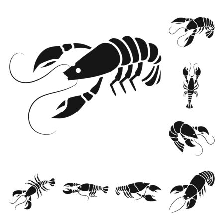 Isolated object of meat and delicacy icon. Collection of meat and crab stock symbol for web. Ilustracja