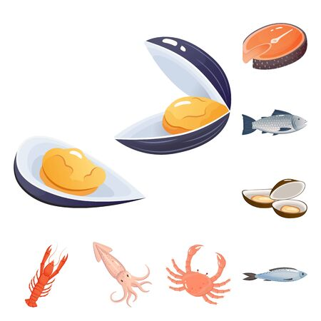 Vector design of food and sea. Set of food and healthy vector icon for stock.