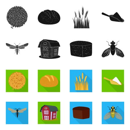Vector design of agriculture and farming symbol. Set of agriculture and plant vector icon for stock. Banque d'images - 129735313