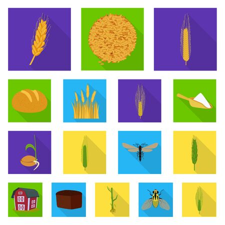 Vector illustration of wheat and corn symbol. Collection of wheat and harvest vector icon for stock. Banque d'images - 129735389
