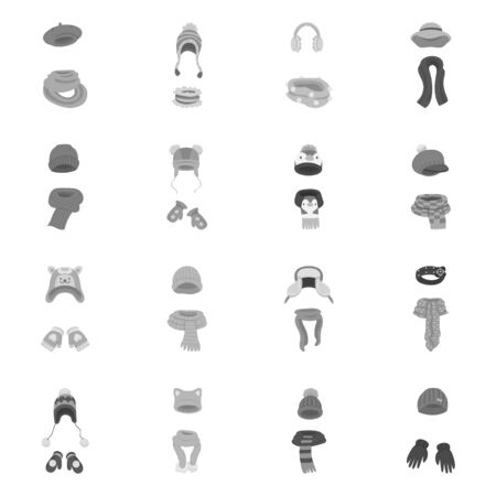 Isolated object of headwear and fashion. Set of headwear and cold stock vector illustration.