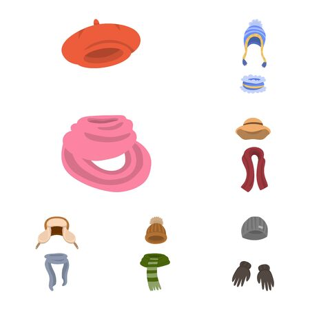 Isolated object of headwear and fashion icon. Set of headwear and cold vector icon for stock. Иллюстрация