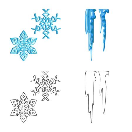 Vector design of texture and frozen. Set of texture and transparent vector icon for stock. Ilustrace