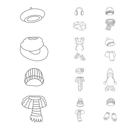 Vector design of winter and cold icon. Set of winter and warm vector icon for stock. Иллюстрация