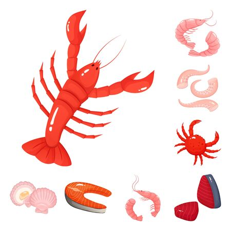 Isolated object of food and sea symbol. Collection of food and healthy stock symbol for web. Ilustracja