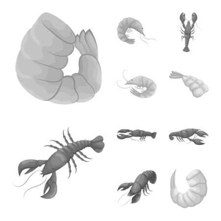 Isolated object of crab and appetizer symbol. Collection of crab and sea vector icon for stock.