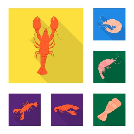 Isolated object of appetizer and seafood icon. Collection of appetizer and ocean stock vector illustration.