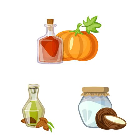 Vector design of bottle and glass icon. Collection of bottle and agriculture stock vector illustration.