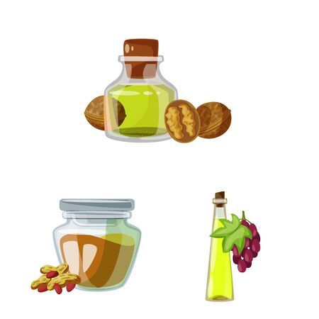Isolated object of bottle and glass sign. Collection of bottle and agriculture stock vector illustration.