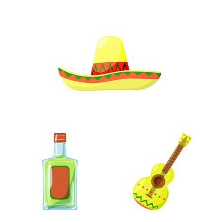 Vector design of Mexico and tequila symbol. Set of Mexico and fiesta vector icon for stock.