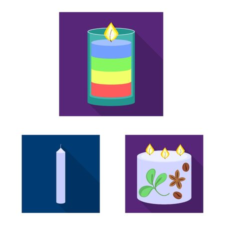 Vector illustration of candlelight and decoration. Set of candlelight and flame vector icon for stock.