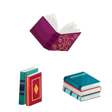 Vector design of library and bookstore sign. Set of library and literature stock vector illustration.