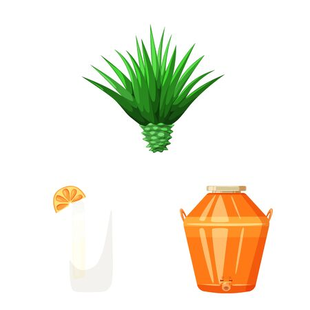 Isolated object of Mexico and tequila sign. Collection of Mexico and fiesta stock symbol for web. 向量圖像